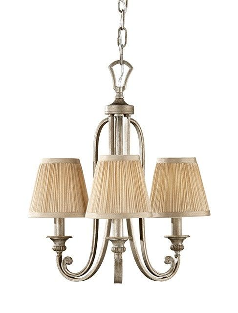 Three light mini chandelier with three mushrooms pleated shades ...