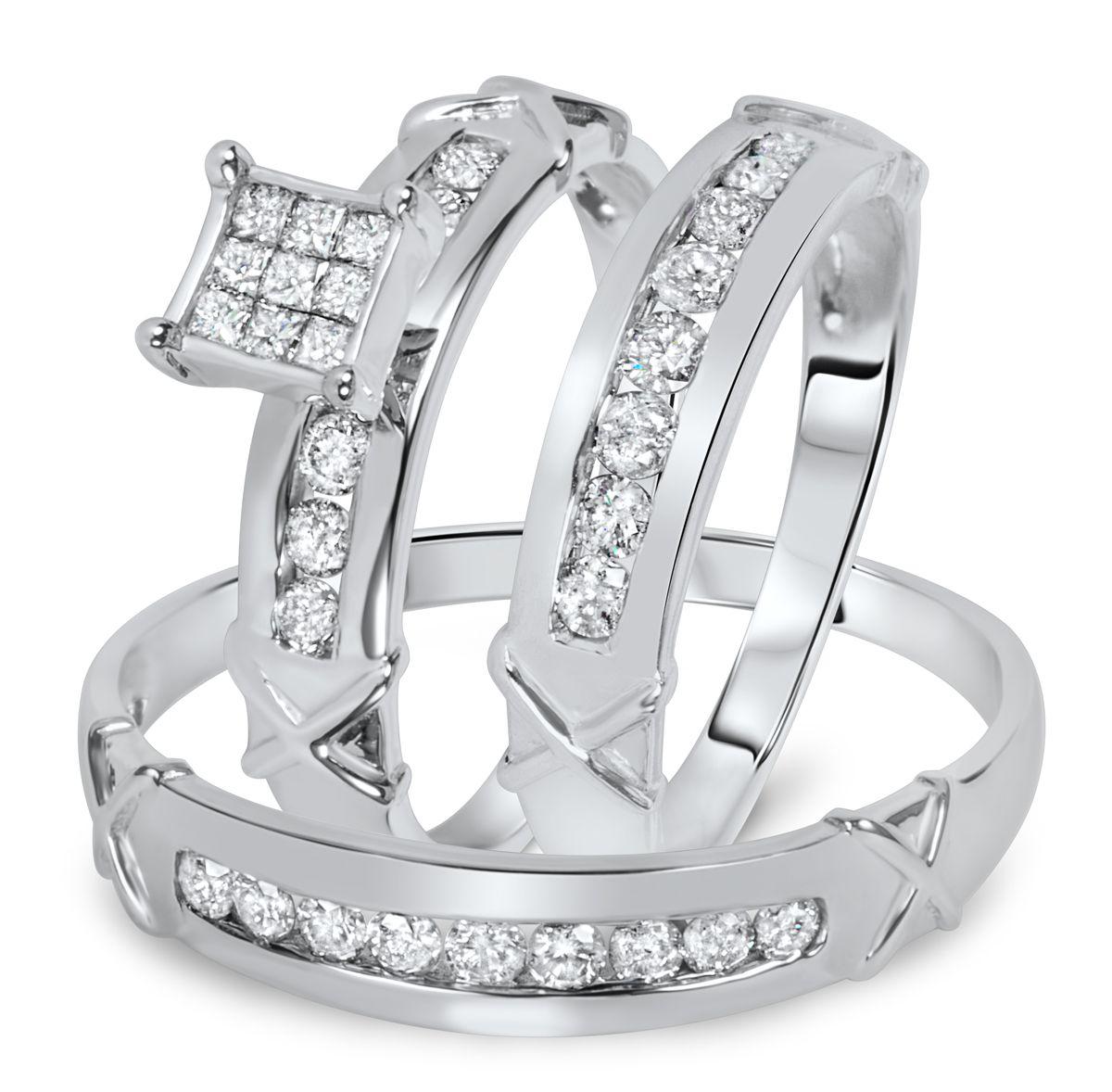 1 carat diamond trio wedding ring set 14k white gold | matching