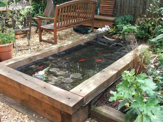 Raised Pond With Sleepers Garden Pond Design Ponds Backyard Raised Pond