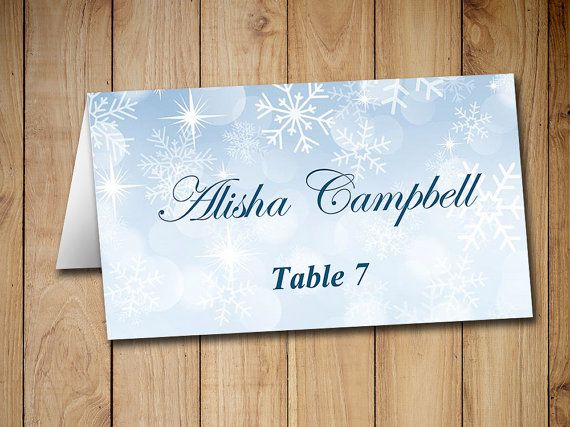 Winter Wedding Place Cards Template Tent By Paintthedaydesigns Card Table Wedding Wedding Place Card Templates Wedding Place Cards