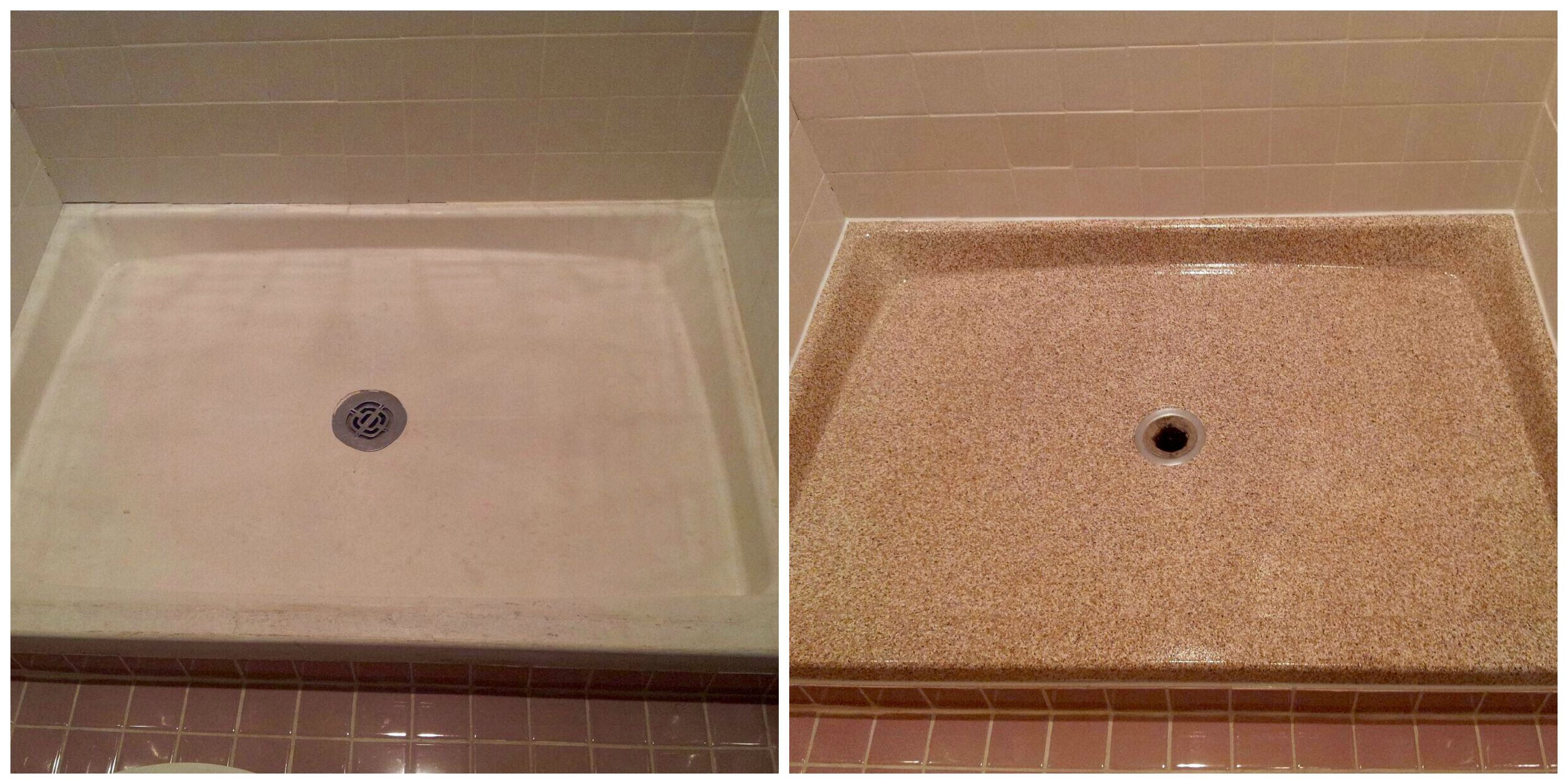 Updating a dingy fiberglass shower pan is easy with one of our ...