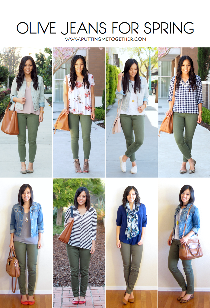 8c9f9bf2296339 Outfits With Olive Jeans in the Spring | Spring/ Summer Style ...
