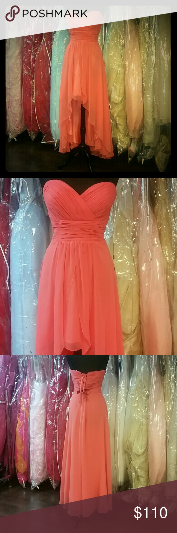 Coral chiffon highlow dress boutique dress skirt high low and