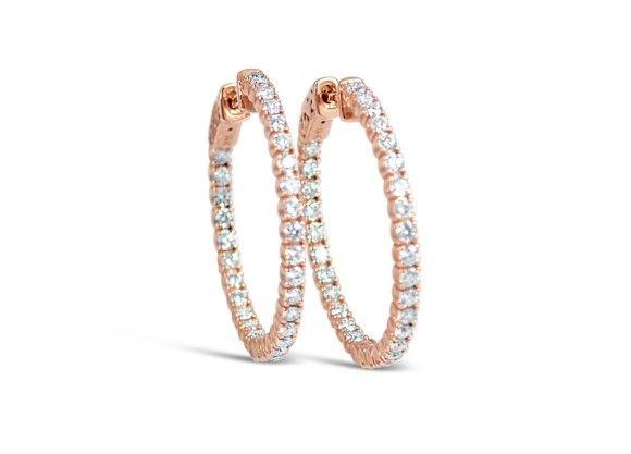 14K Rose Gold Round Diamond Inside/ Outside Hoops Diamond:  1.80ctw