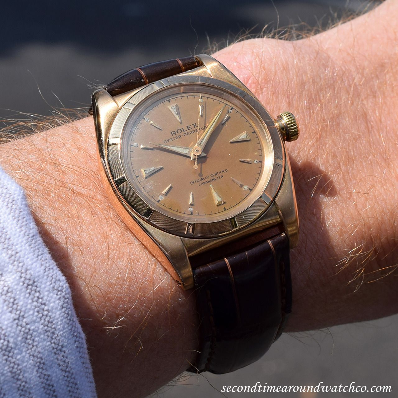 Whoa! Today, I'm wearing a 1948 Rolex Bubbleback Ref. 4777