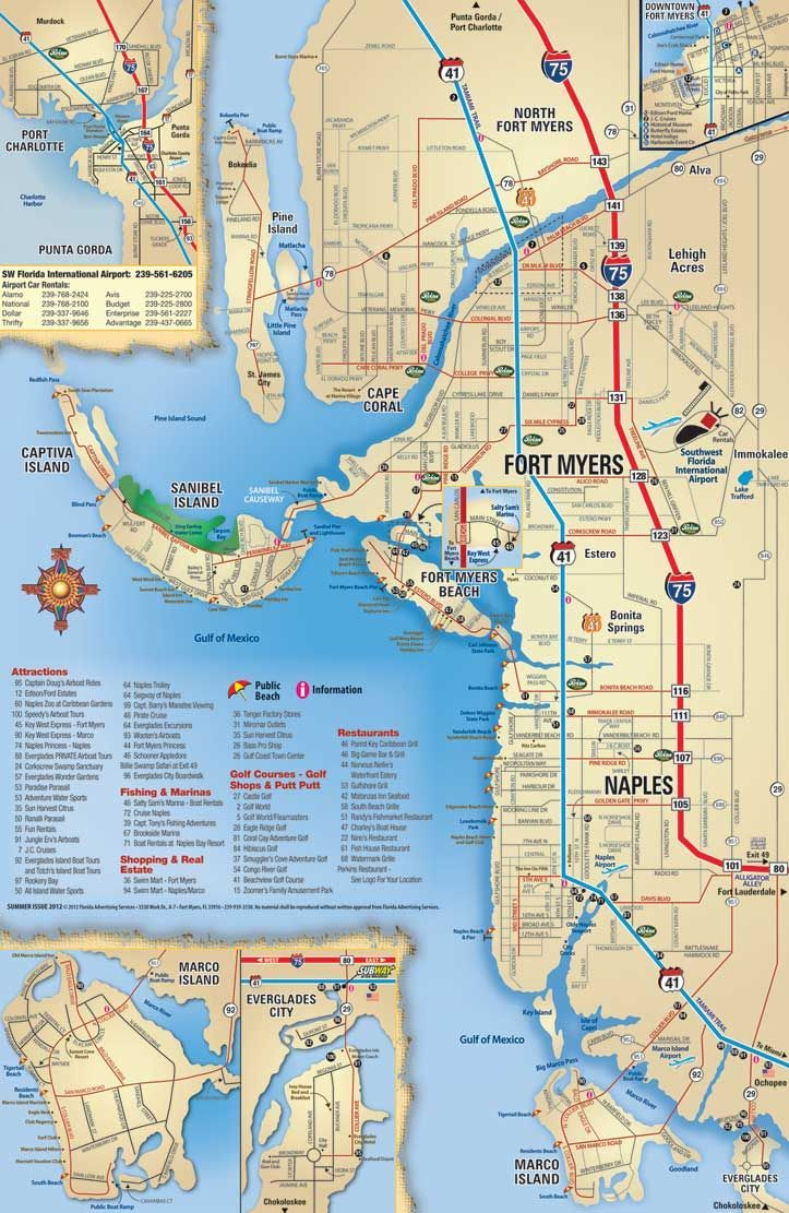 Southwest Florida Map Attractions And Things To Do Coupons