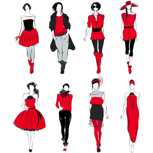 Vector Fashion girls design elements 02 - Vector People free ...