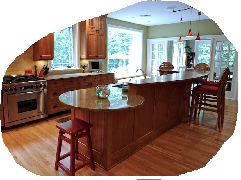 Kitchen peninsula with rounded end google search for Kitchen island with rounded end