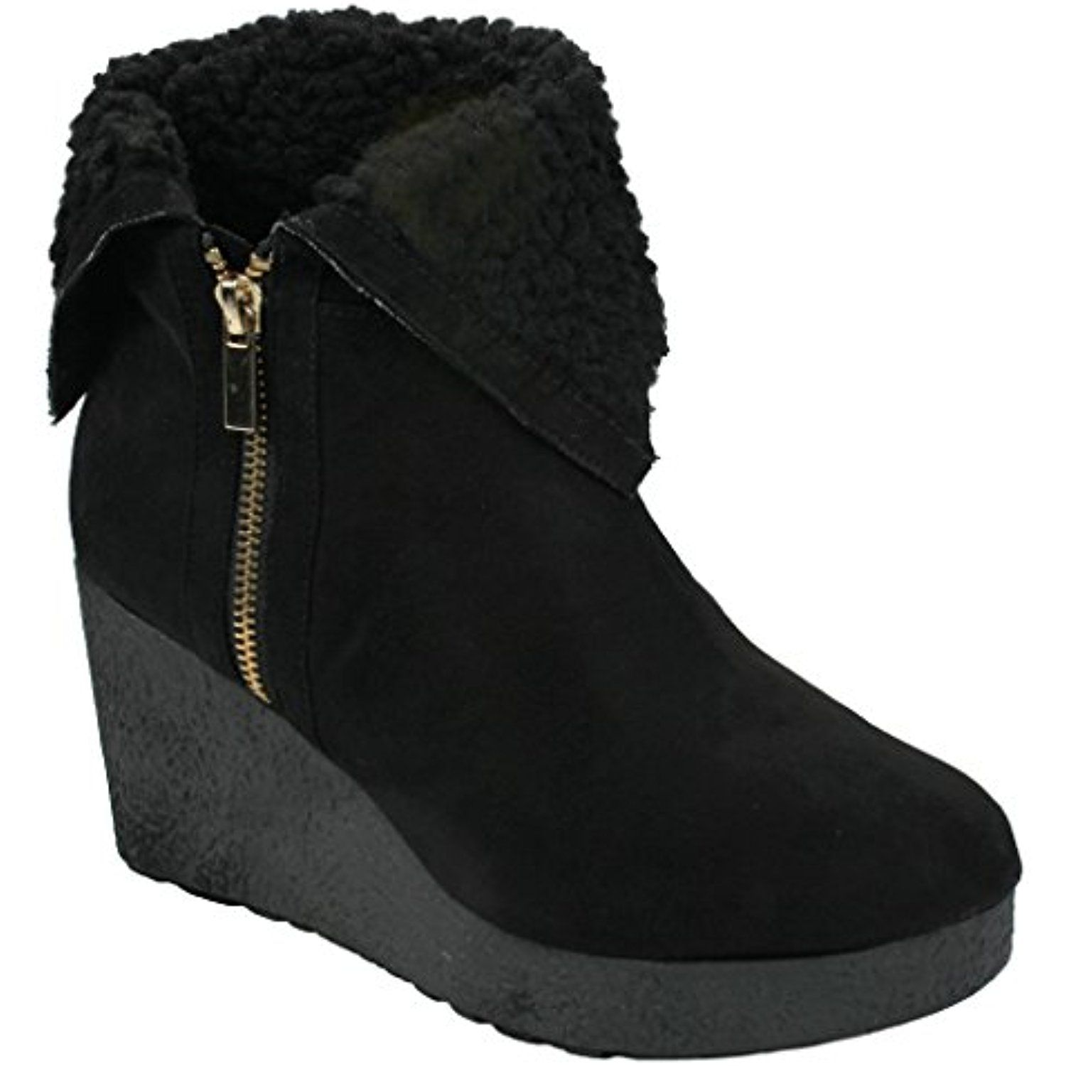 Poppet Faux Suede Lace Up Knit Sweater Cuff Mid Wedge Ankle Booties