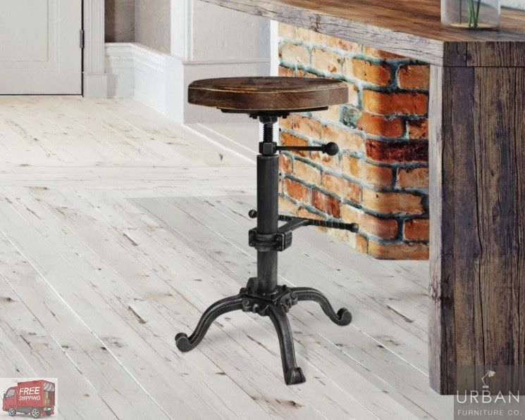 Details About Industrial Backless Bar Stool Metal Adjustable