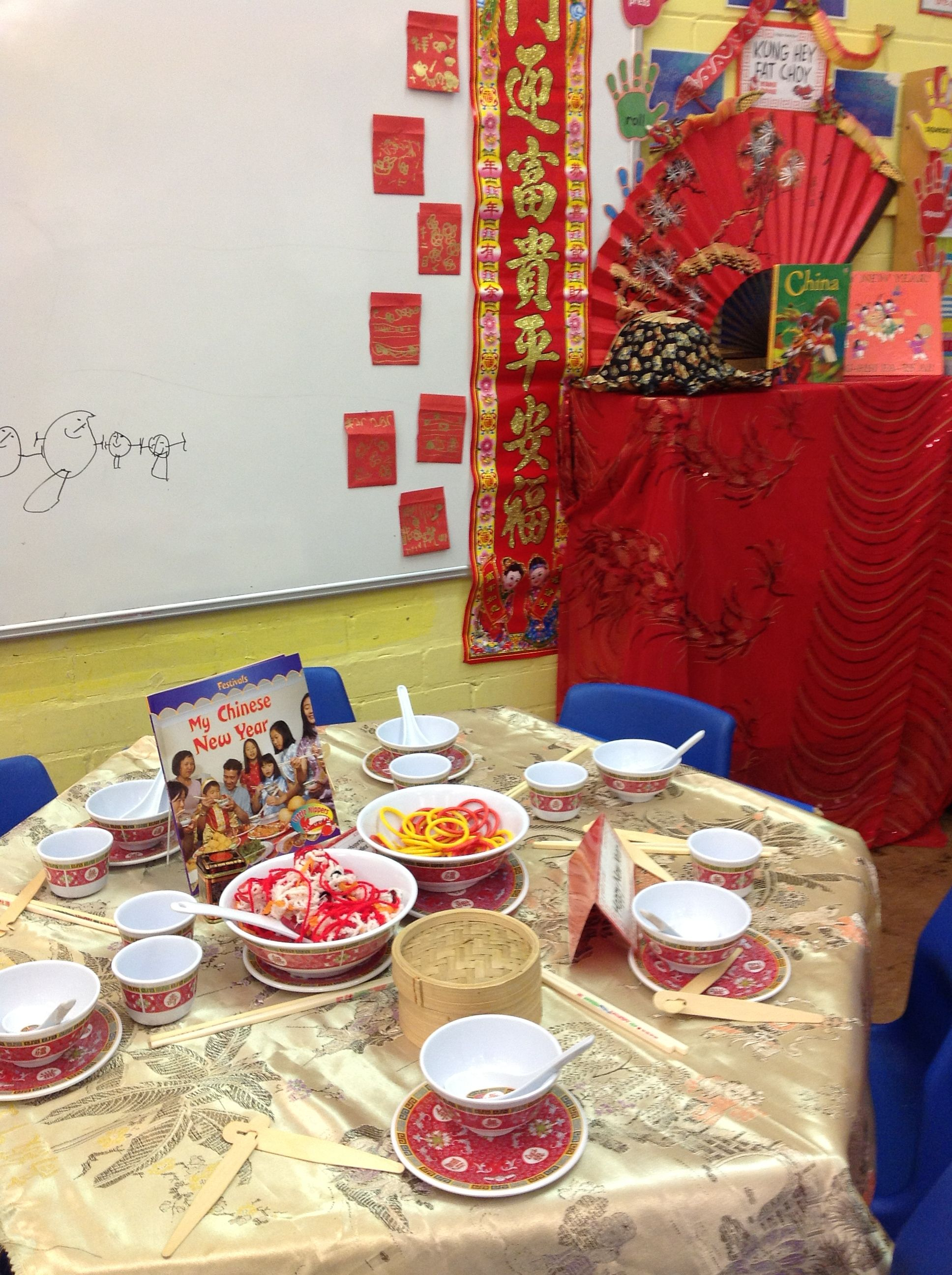 we changed the dough table for chinese new year pretend food to practise eating with. Black Bedroom Furniture Sets. Home Design Ideas