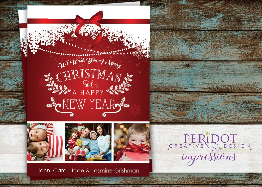 Elegant Retro Personalized Christmas Card With X By Peridotimpressions On Etsy