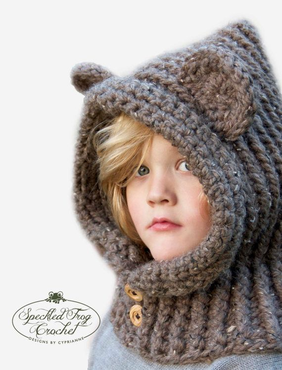 Crochet PATTERN Hooded Bear Cowl Crochet Hood Pattern Includes Sizes ...