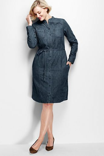 Plus Size Denim Shirt Dress | Plus Size Fashion | Jeans dress, Denim ...