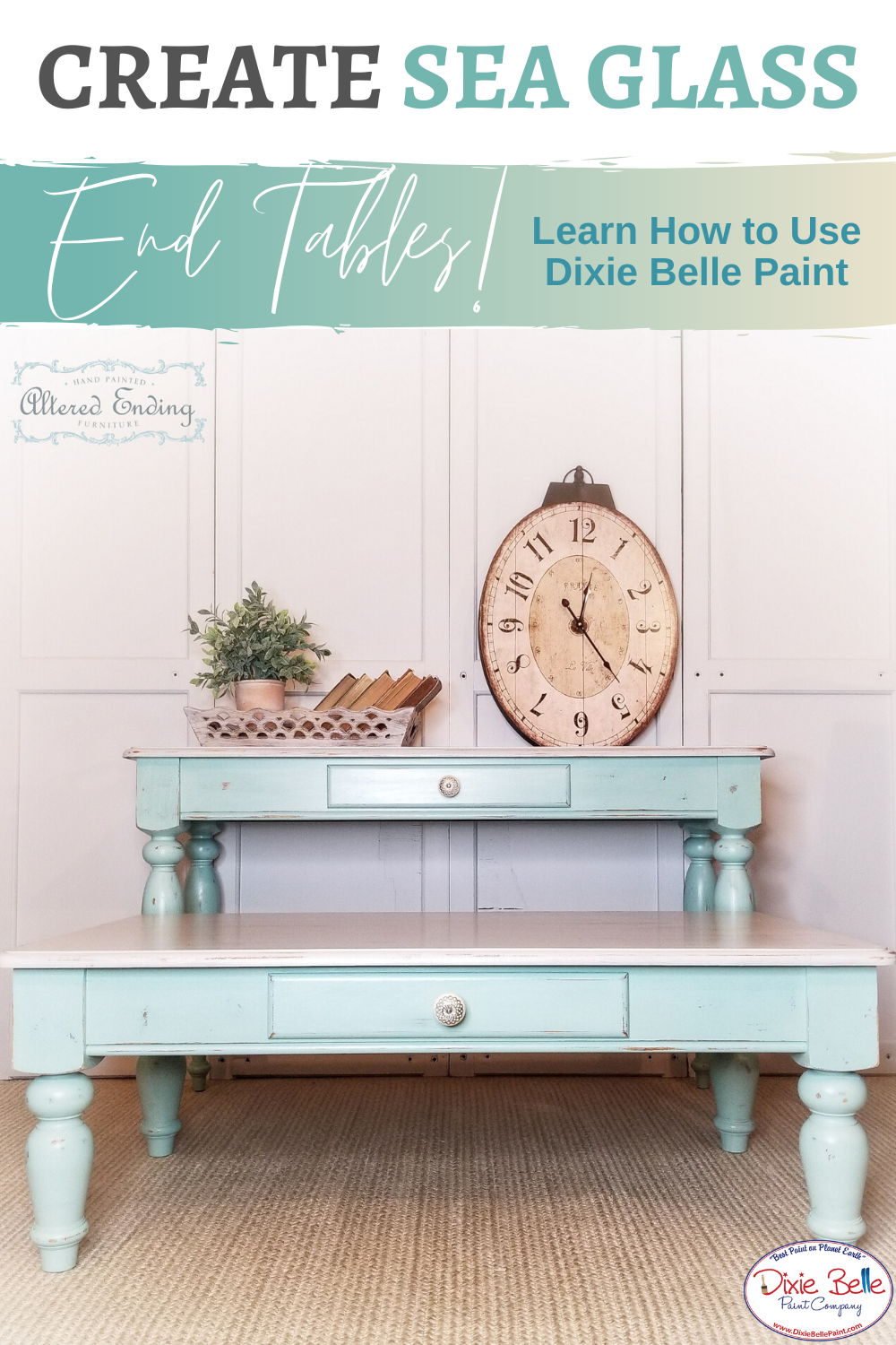 Sea Glass Inspiration End Tables In 2020 Blue Painted Furniture