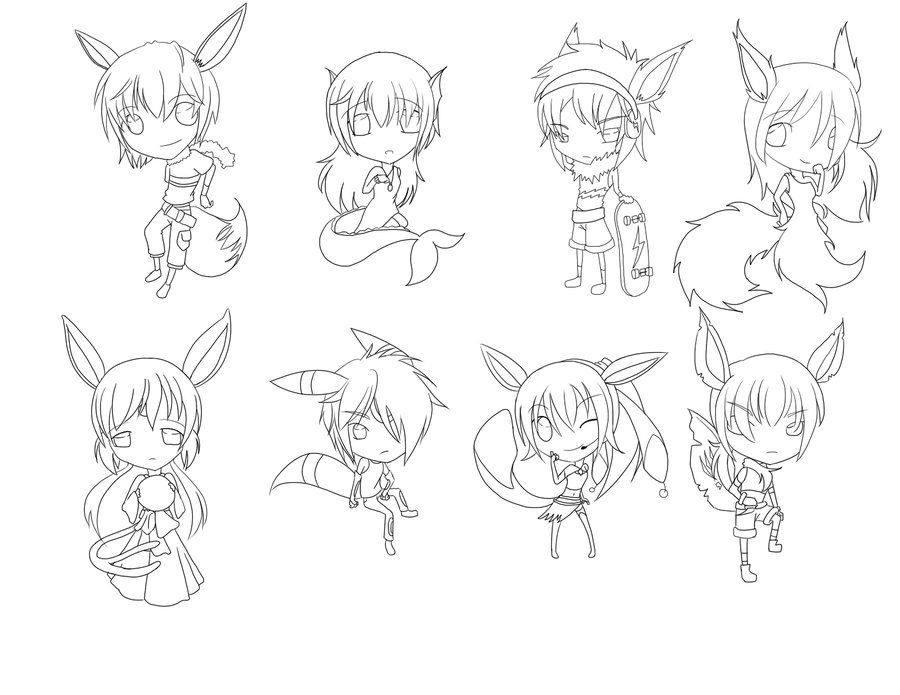 Eeveelution Gijinka Line Art by MichisCoolArt Pokemon