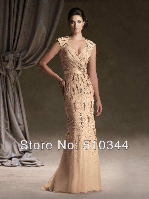 Free shipping v-neck backless sequined mermaid floor length chiffon mother of the bride pant suit godmother dress wedding 2014 US $265.99