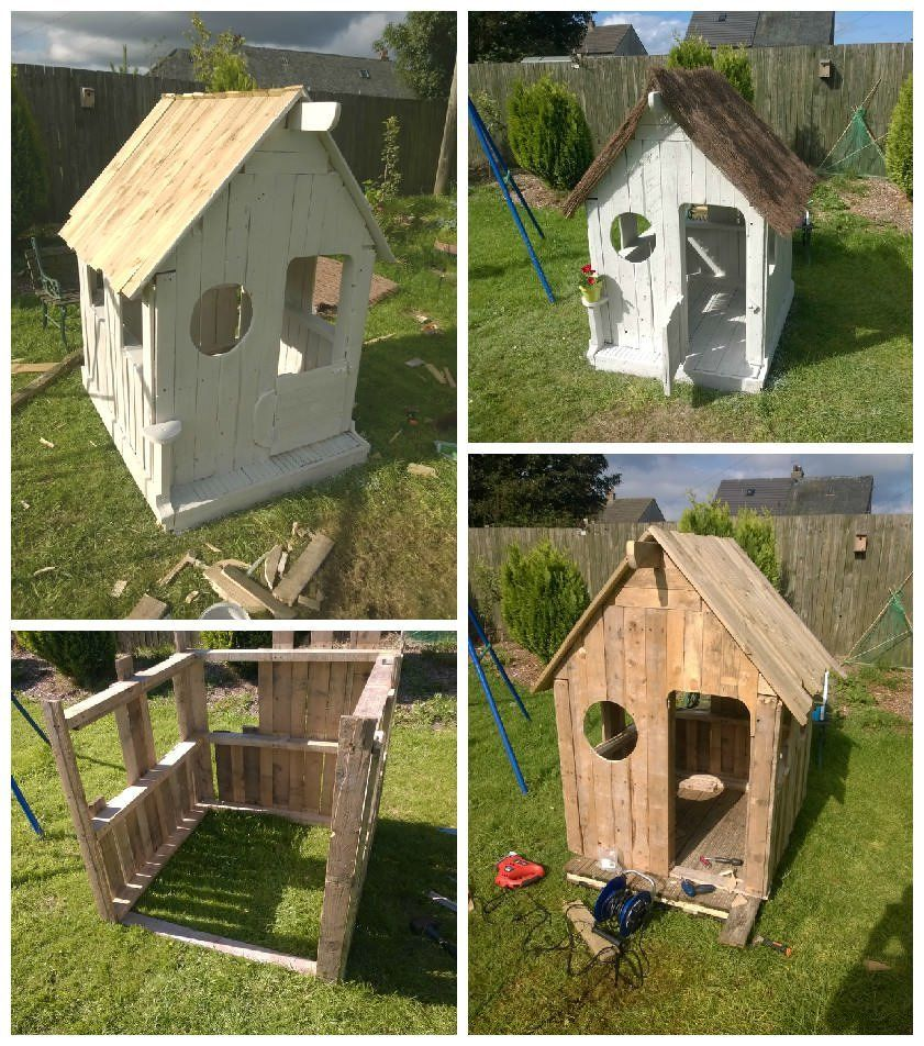Wendy pallet house garden kids playhouses and pallets for Wooden wendy house ideas