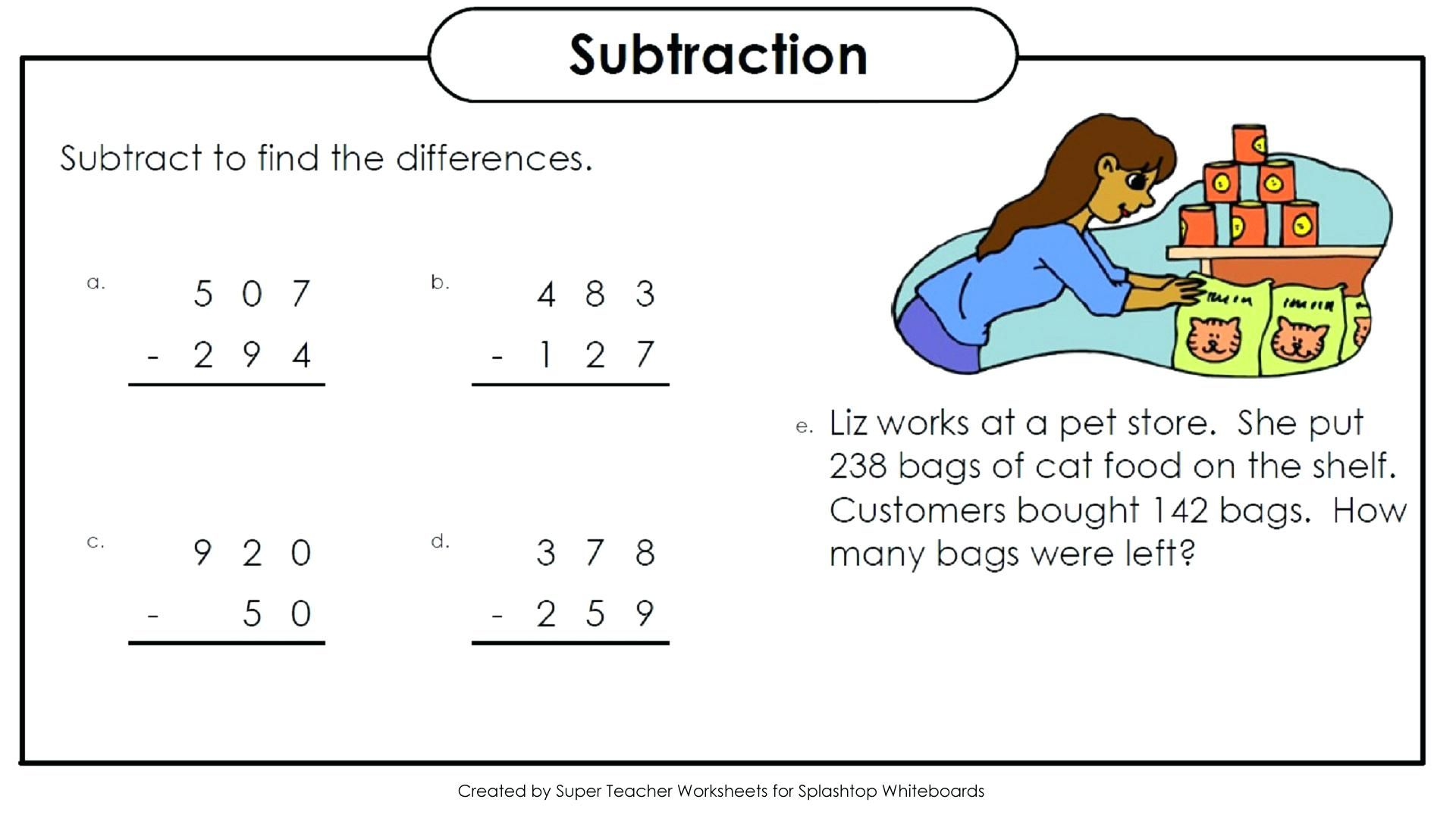 Subtraction Color By Number And Worksheet For Kids
