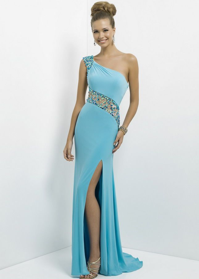 Aqua Long Slit One Shoulder Rhinestone Beaded Illusion Evening ...