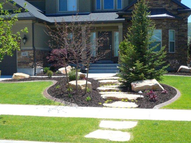 vorgarten gestaltung kies bruchsteine bäume pflanzen | landscaping, Gartenschlauch