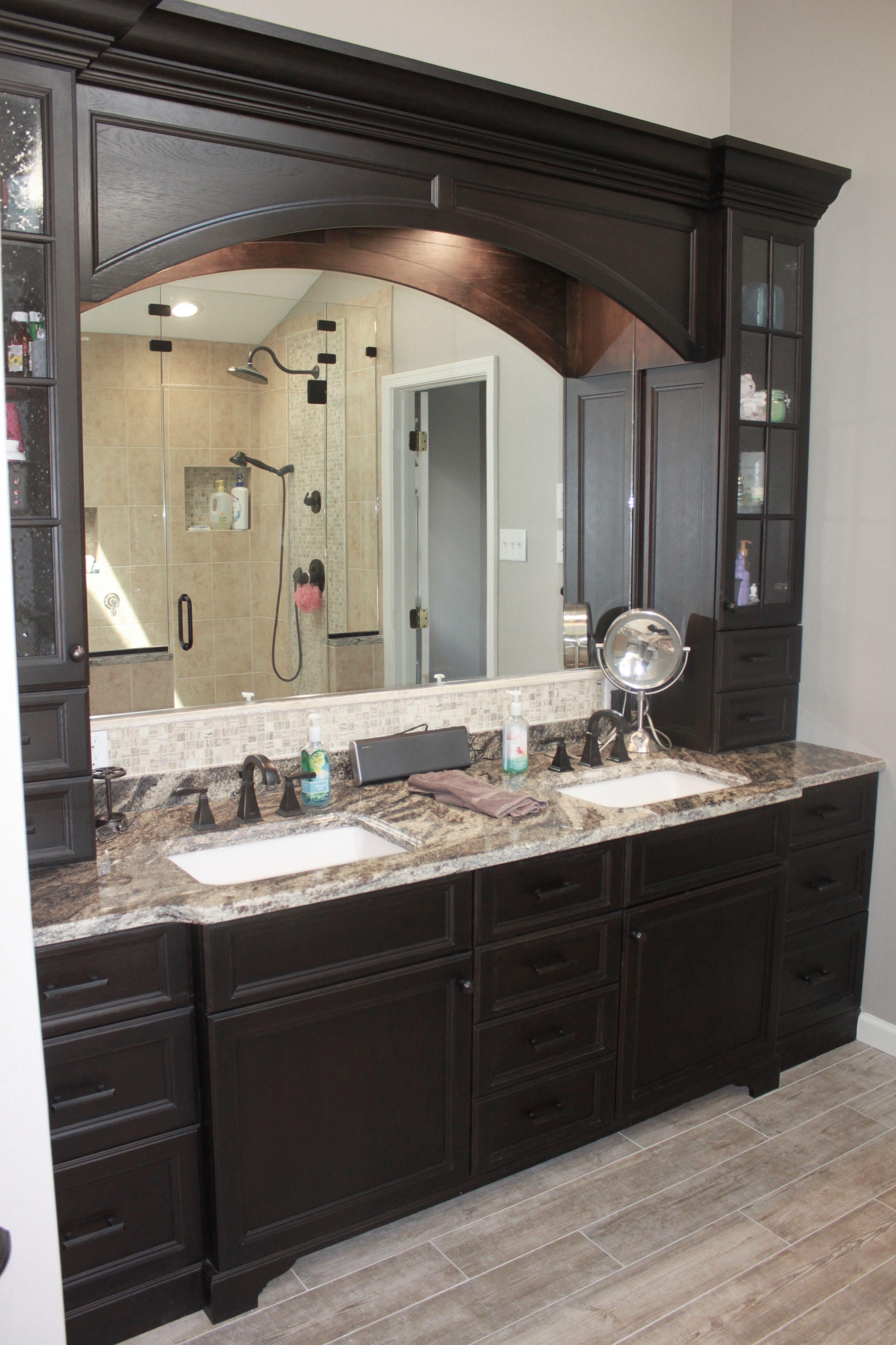 Custom Espresso Colored Double Vanity Cabinets Hockessin De Bathroom Remodel Master Vintage Bathroom Vanities Master Bathroom Vanity [ 4654 x 3102 Pixel ]