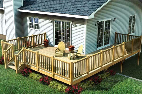 Plan 90014 Easy Corner Deck Corner Deck Deck Designs Backyard