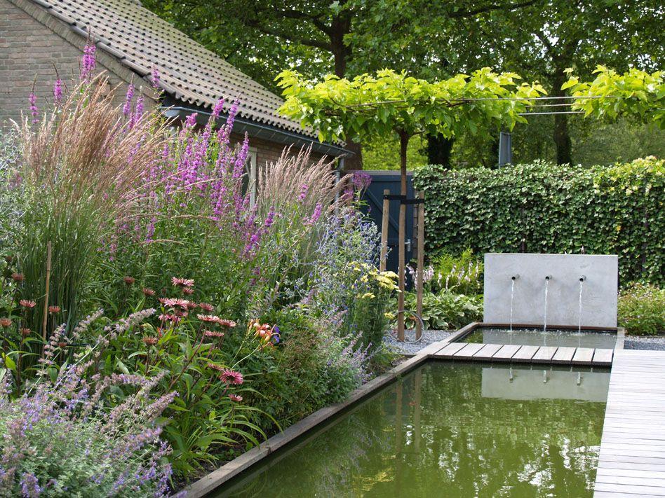 Strakke vijver met watermuur vijver pinterest tuin for Strakke kleine tuin