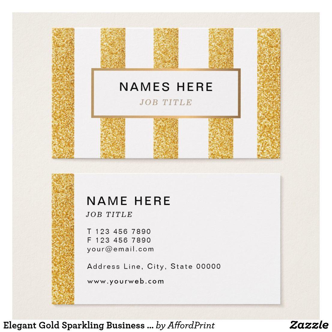 Elegant Gold Sparkling Business Card Elegant Chic Sophisticated Design Featuring Image O Printing Business Cards Business Card Design Elegant Business Cards