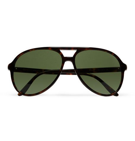 f3ad6a82663 Gucci Tortoiseshell Acetate Aviator Sunglasses