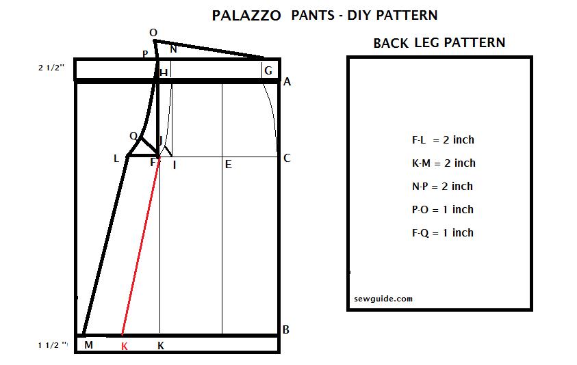 How to make PALAZZO PANTS - {Free} DIY Pattern | pattern drafting ...