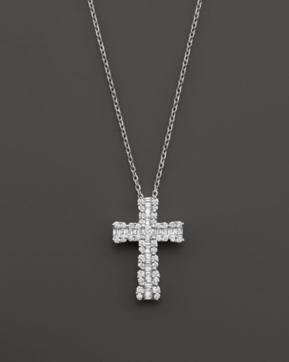 Diamond and Baguette Cross Pendant Necklace in 14K White Gold, 1.0 ct. t.w.