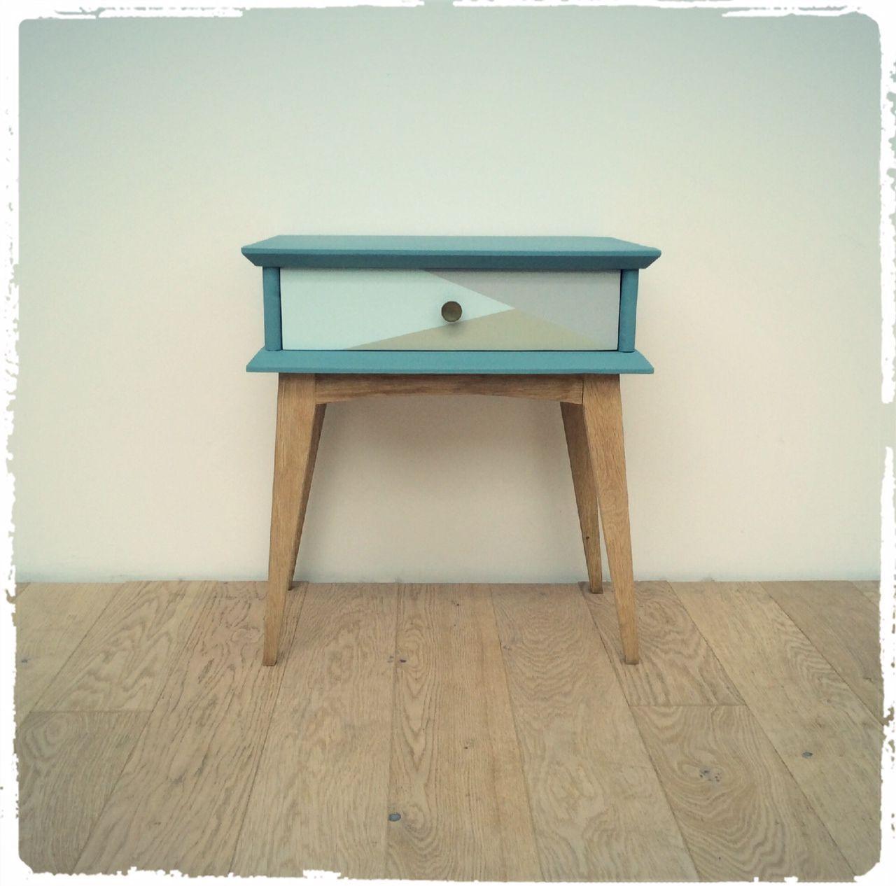 table de chevet vintage pieds compas revisitée   bistrot