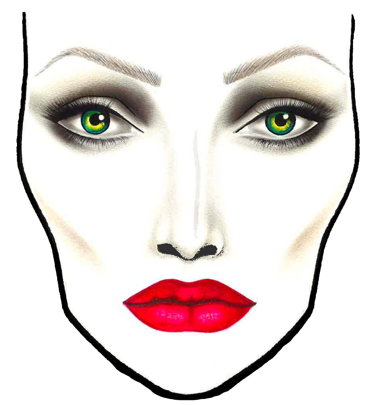 MAC facechart for Maleficent by Rick Baker Maleficent