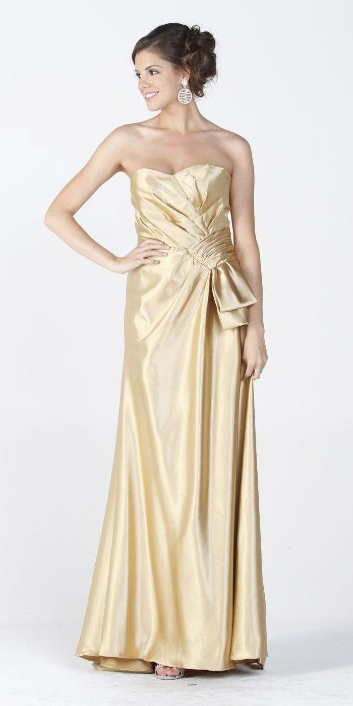 CLEARANCE LIMITED STOCK - Gold Maxi Long Satin Formal Dress Classy ...