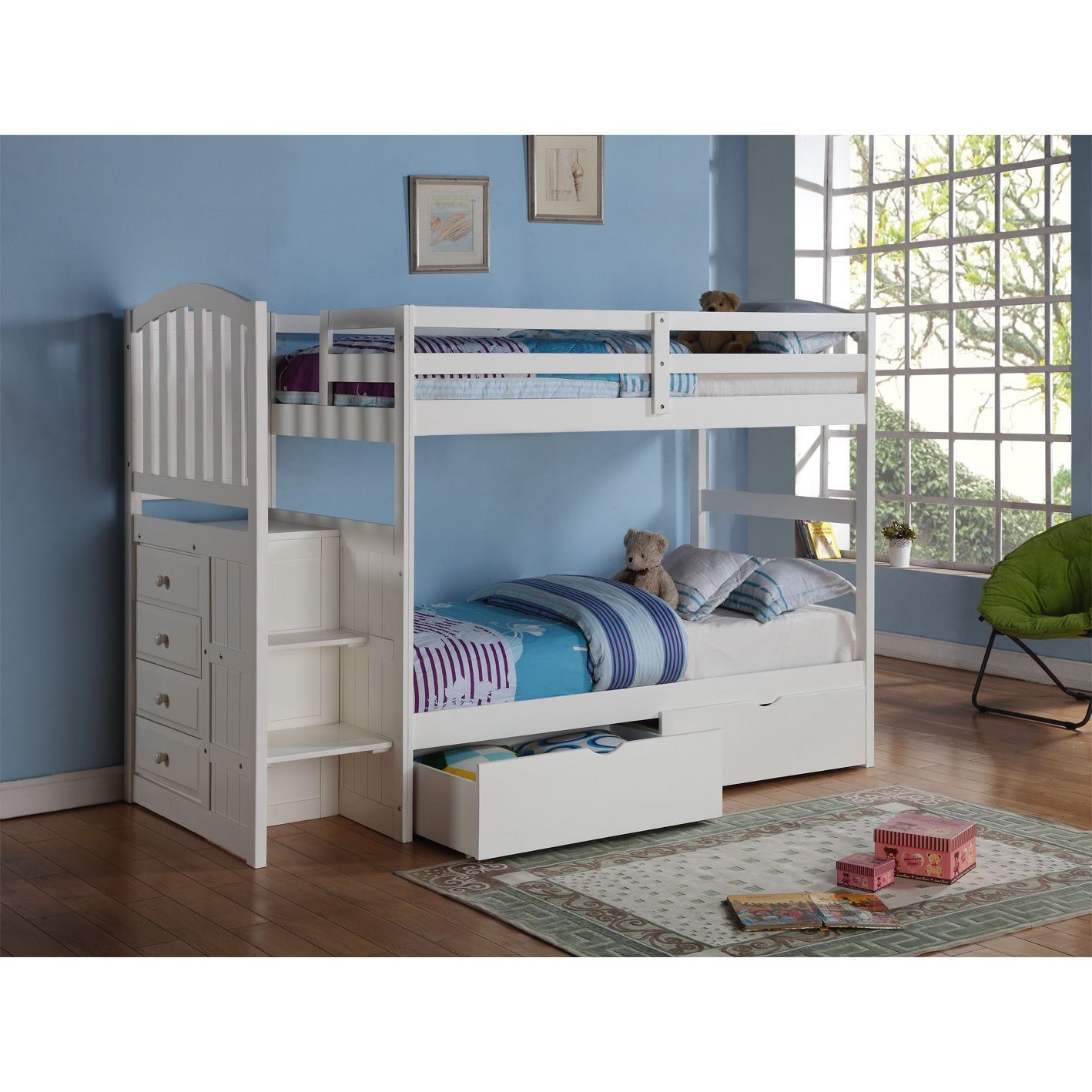 Donco Kids Arch Mission Stairway White Twin Bunk Bed With Underbed