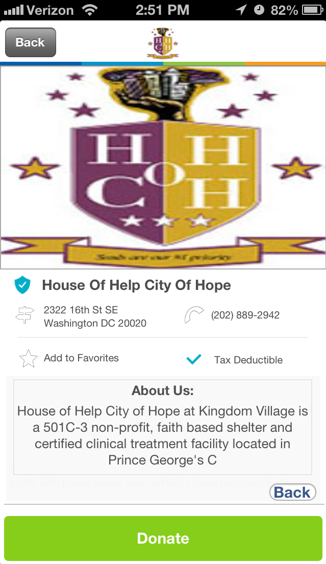 House of Help City of Hope in Washington, DC #GivelifyNonprofits