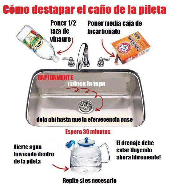 Como destapar el ca o de la pileta casa pinterest limpieza fregaderos y trucos caseros - Como desatascar el fregadero de la cocina ...