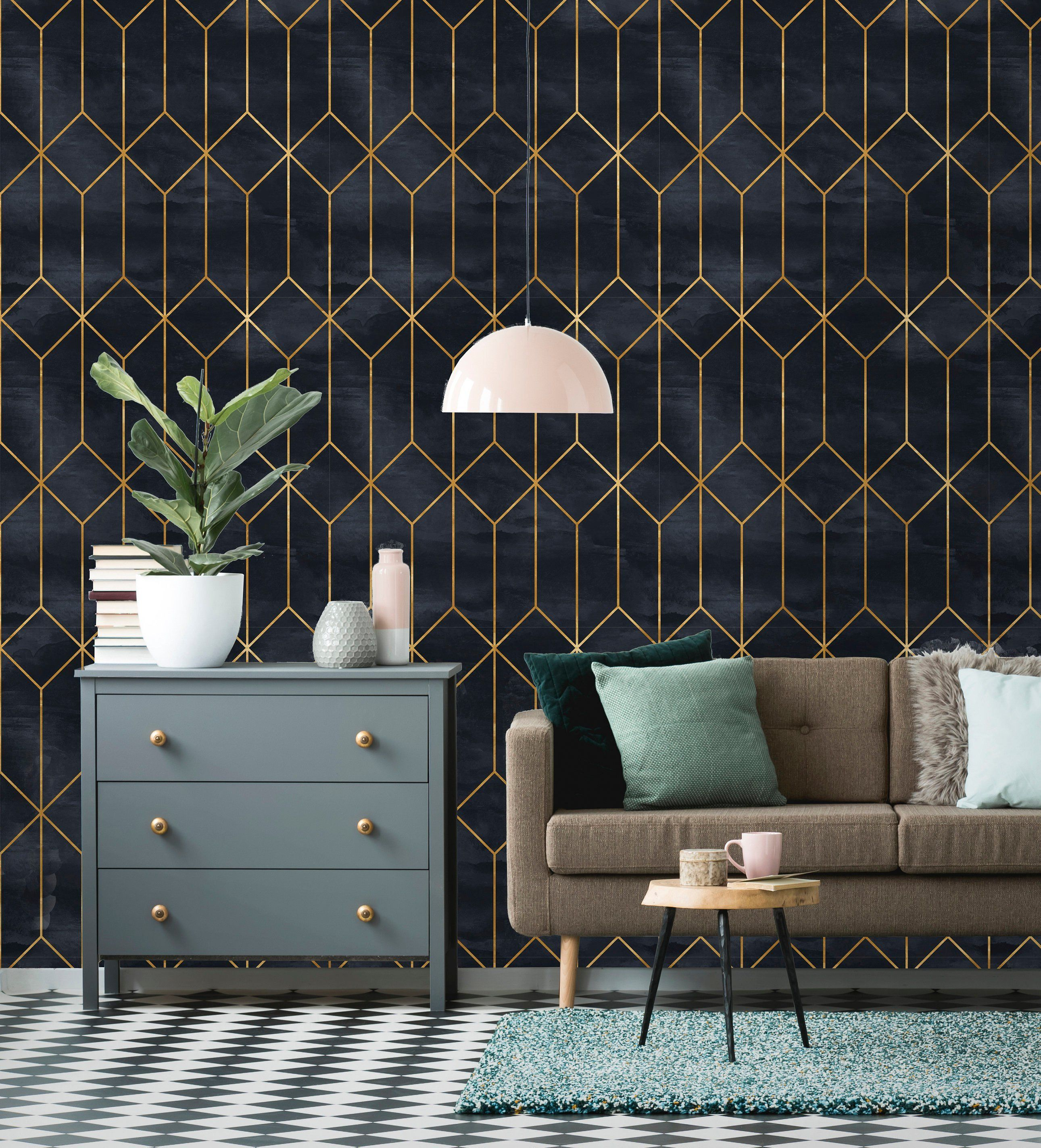 Removable Wallpaper Peel And Stick Geometric Wallpaper Etsy Art Deco Wallpaper Interior Deco Geometric Wallpaper