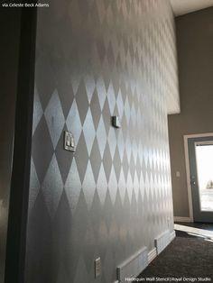 Harlequin wall stencil treatment