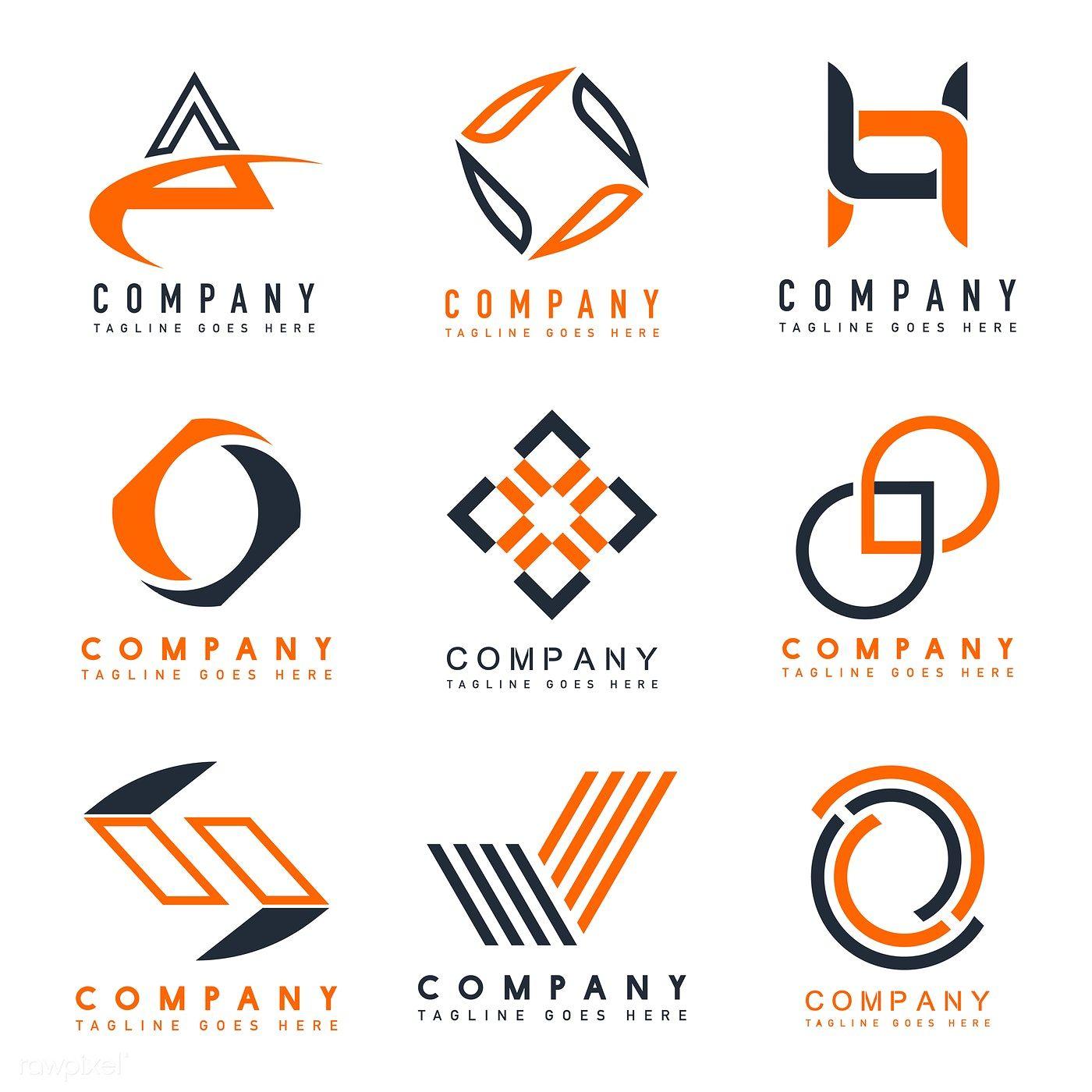 Download premium illustration of Set of company logo