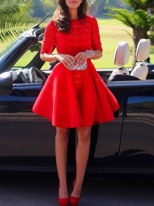 82350f7f641 Red Half Sleeve Backless Scallop With Lace FLare Dress