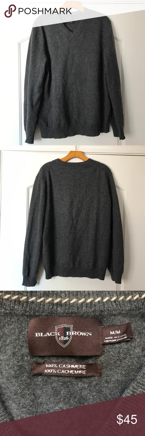 Black Brown 1826 Gray Cashmere V Neck Sweater | Soft fabrics ...
