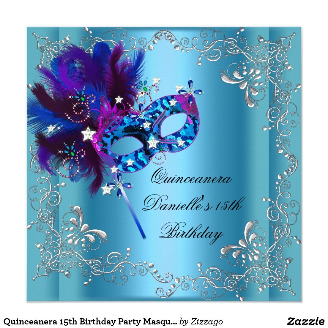 Quinceanera 15th Birthday Party Masquerade Blue 13 Cm X 13 Cm Square