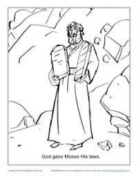 free printable god gave moses the ten commandments coloring page