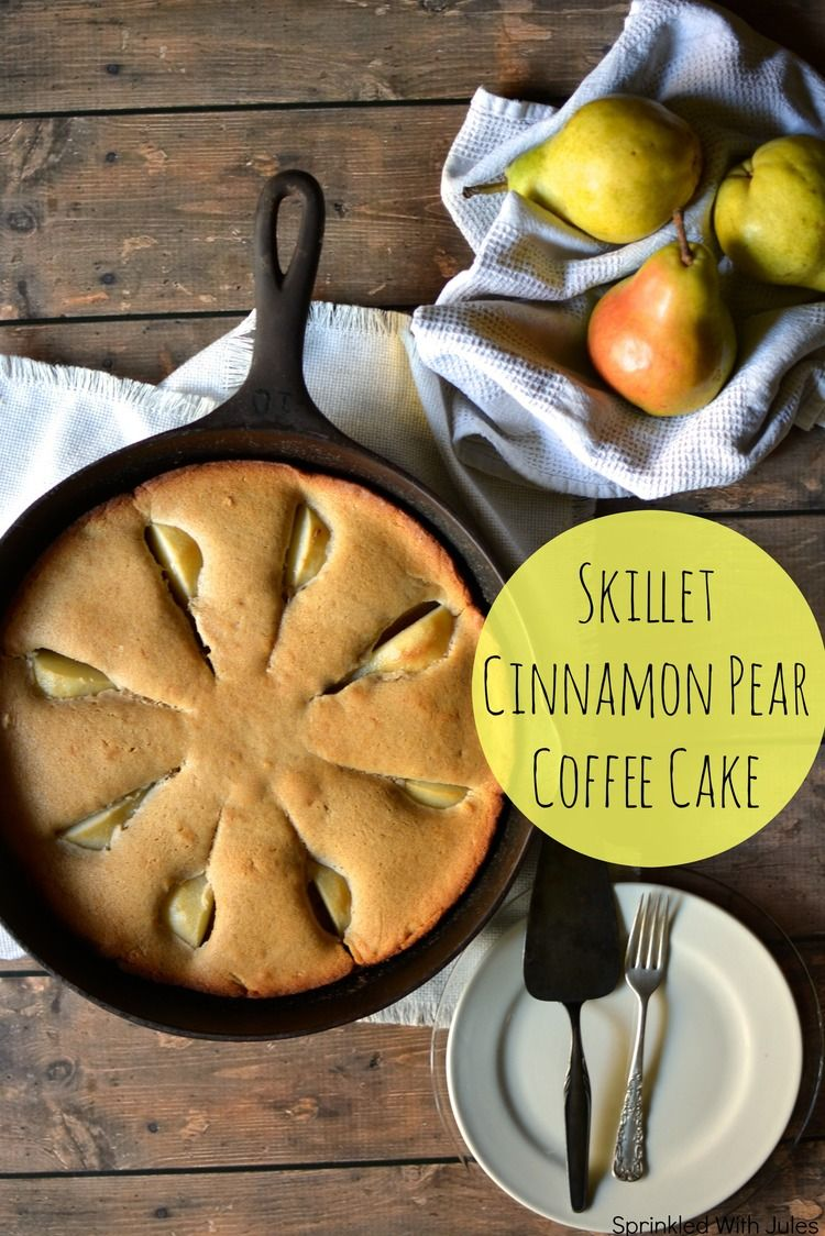 Skillet Cinnamon Pear Coffee Cake. Warm cinnamon spiced cake studded in pear slices. // Sprinkled With Jules