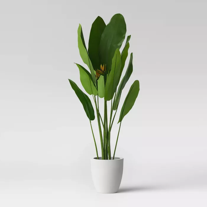 49 5 Bird Of Paradise In White Pot Opalhouse In 2020 White Pot Opalhouse Artificial Potted Plants