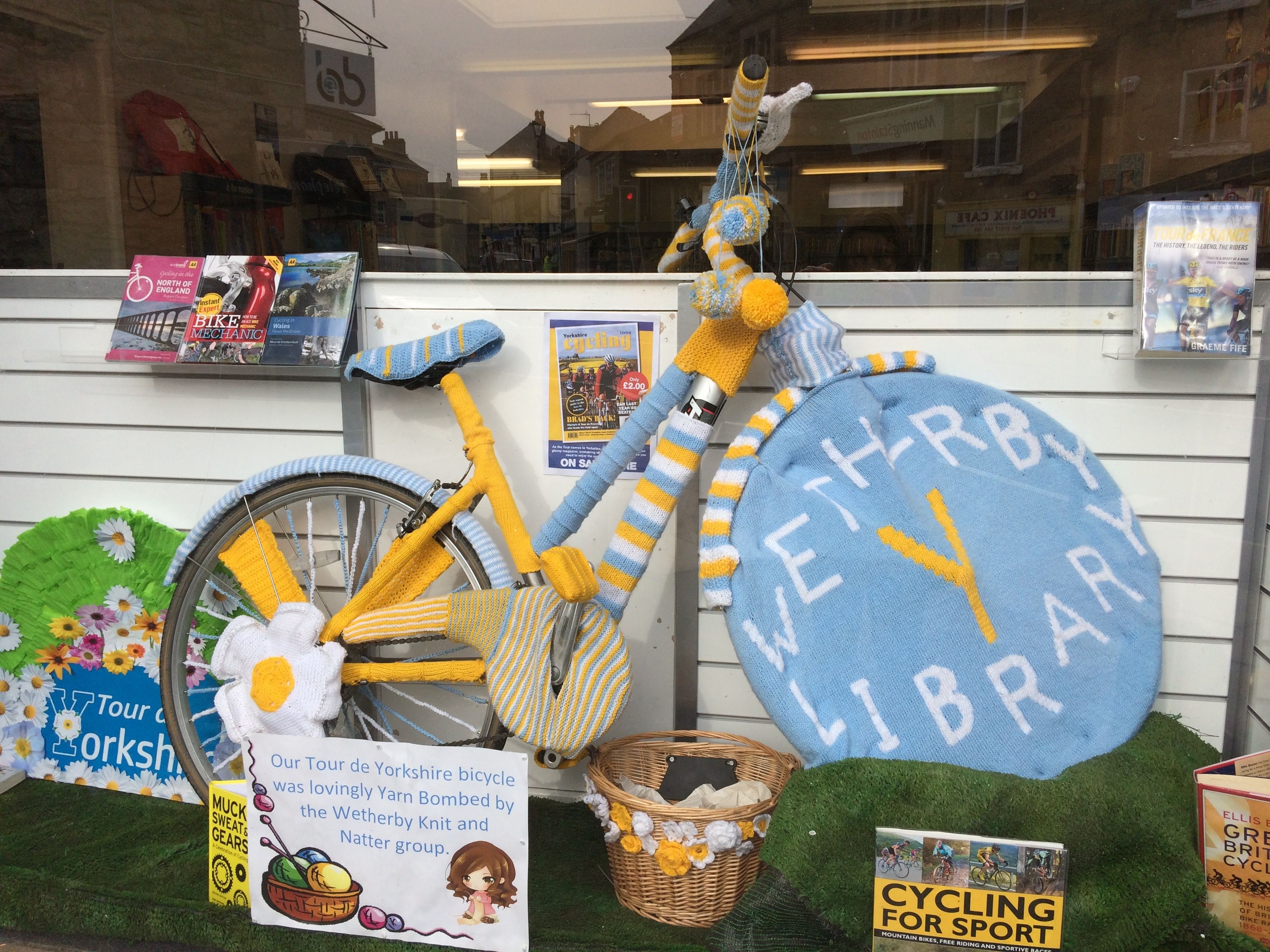 Wetherby library knit and knatter yarnbombed for tour de Yorkshire 2016