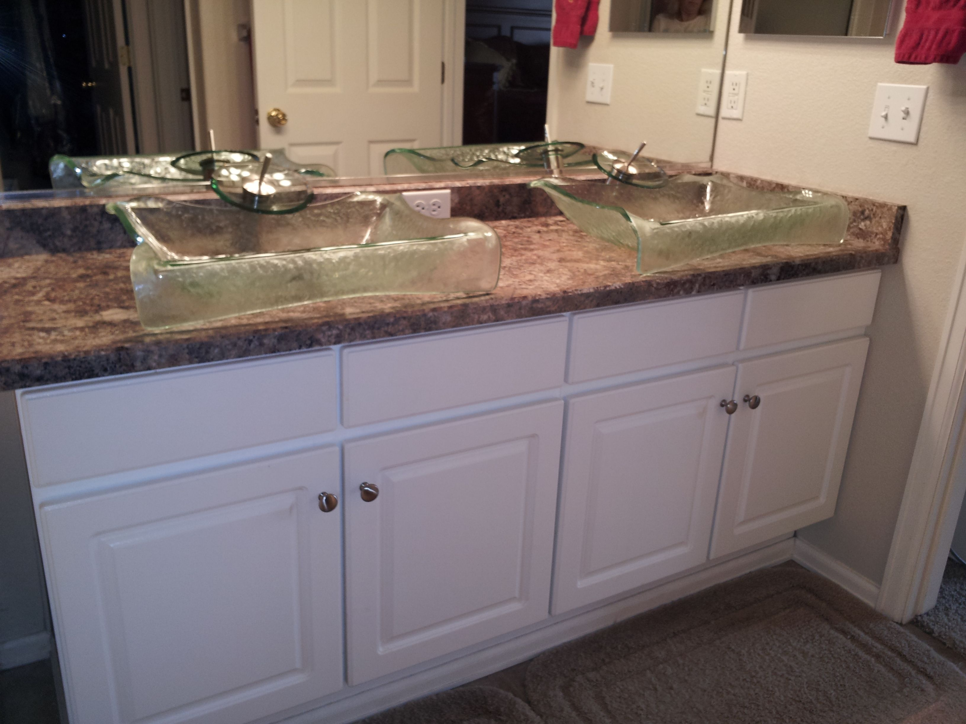 Change your basice bathroom vanity into a contemporary