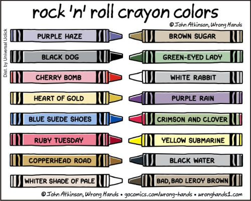 Rock N Roll Crayon Colours Wrong Hands Word Play Pinterest